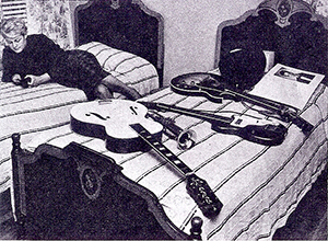 Donna in Ritchie's room with his guitars